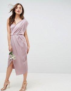Read more about Asos wedding one shoulder soft midi pencil dress - mink