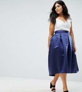 Read more about Closet plus full prom pleated sateen midi skirt - navy