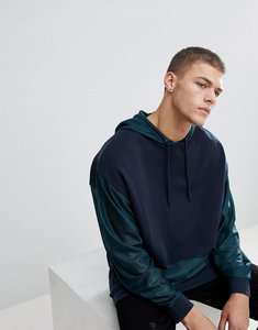 Read more about Asos oversized longline hoodie with mesh sleeves - navy
