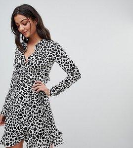 Read more about Asos tall mono spot print ruffle wrap mini dress - multi