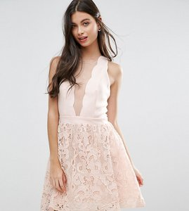 Read more about Little mistress petite scallop skater dress with crochet lace skirt - light pink