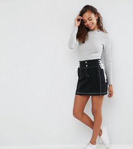 Read more about Asos petite mini skirt with lace up sides - black