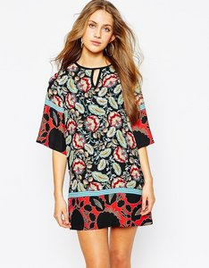Read more about Mango kimono sleeve shift dress in lotus flower print - multi