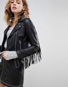 Read more about Goosecraft leather festival biker jacket with fringing - black