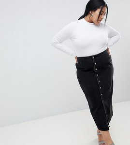 Read more about Asos design curve denim midi skirt with buttons in black - black