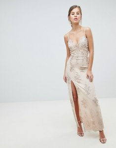 Read more about Chi chi london scalloped plunge maxi prom dress with gold embroidery - nude gold