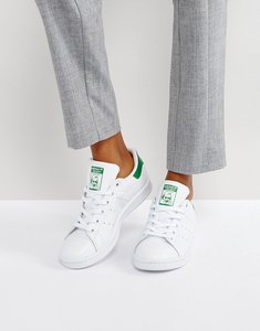 Read more about Adidas originals white and green stan smith trainers - white