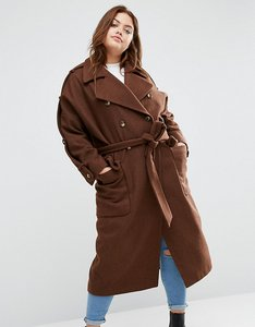 Read more about Asos curve wool trench coat with eppaulette - brick