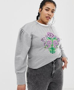 Read more about Chorus plus mutton sleeve sweater with sequin floral - grey