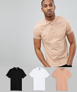 Read more about Asos design polo in jersey 3 pack save - wht blk bread