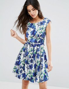 Read more about Louche julita belted skater dress - blue white