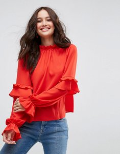 Read more about Asos high neck ruffle sleeve blouse - red