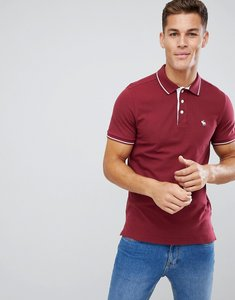 Read more about Abercrombie fitch stretch core moose logo tipped slim fit polo in burgundy - burgundy