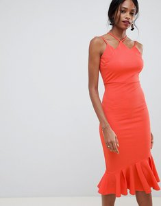 Read more about Asos design textured strappy midi bodycon dress - coral