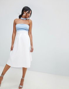 Read more about Asos design colourblock choker prom dress - ivory blue
