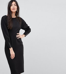 Read more about Asos tall long sleeve midi pencil dress - black