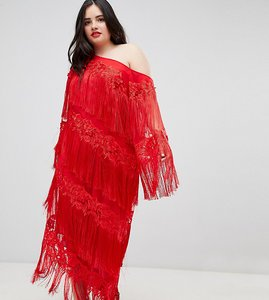Read more about Asos edition curve embroidered one shoulder fringe midi dress - red