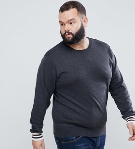 Read more about French connection plus crew neck knitted jumper with contrast cuff - grey