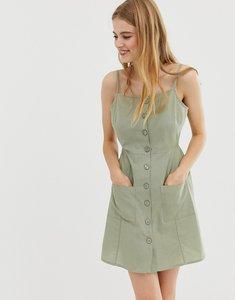 Read more about Asos button through linen mini sundress - khaki