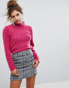 Read more about H by henry holland high neck fluffy knitted jumper with shoulder details - hot pink