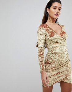 Read more about Flounce london wrap ruched mini dress in electric velvet - gold
