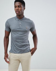 Read more about Polo ralph lauren slim fit pima polo multi player logo in dark grey marl - fortress grey hthr