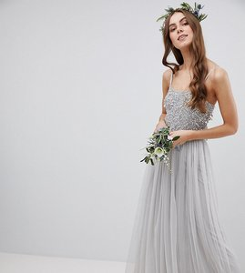 Read more about Maya tall cami strap sequin top tulle detail maxi bridesmaid dress - micro chip