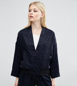Read more about Asos petite lux pyjama bomber in jacquard co-ord - navy