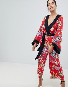 Read more about Asos design kimono jumpsuit with tipping in floral - floral print