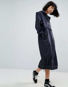 Read more about Asos white denim windbreaker dress in indigo wash - blue
