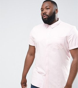 Read more about Asos plus casual slim oxford shirt with stretch in pale pink - pink