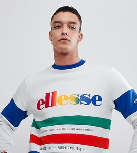 Read more about Ellesse colour block panelled sweatshirt in white - white