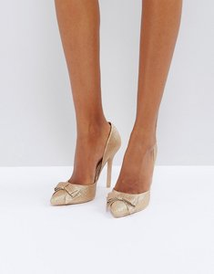 Read more about True decadence rose gold glitter bow detail court shoes - rose gold