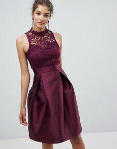 Read more about Ax paris skater dress with lace detail - plum