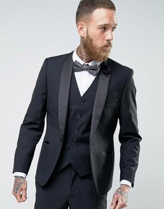 Read more about French connection slim fit black shawl collar tuxedo jacket - black