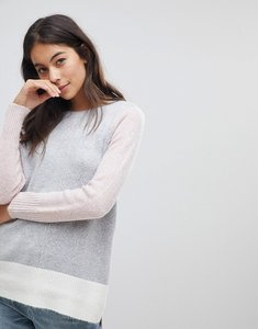 Read more about Oasis side split step hem colourblock jumper - multi pink