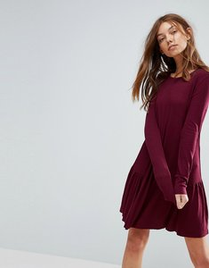 Read more about Pull bear frill hem mini dress - burgundy