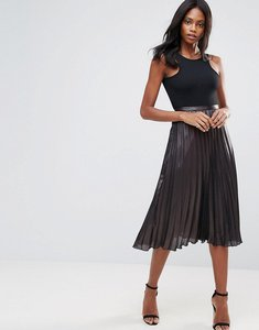 Read more about Liquorish pleated midi skirt - black