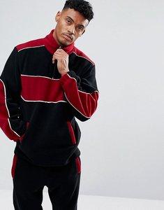 Read more about Jaded london track jacket in black fleece - black