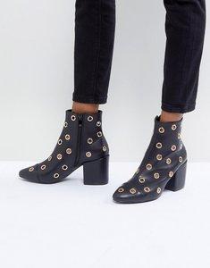 Read more about Raid jadyn black eyelet detail heeled ankle boots - black