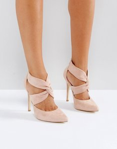 Read more about London rebel cross over back zip point high heels - beige micro
