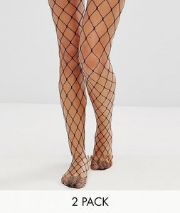 Read more about Asos 2 pack oversized fishnet and fishnet tights - black