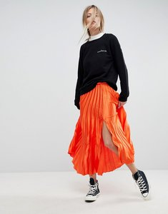 Read more about Asos satin pleated midi skirt with thigh split - orange