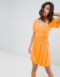 Read more about Asos shirred waist tea dress with frill sleeve - orange