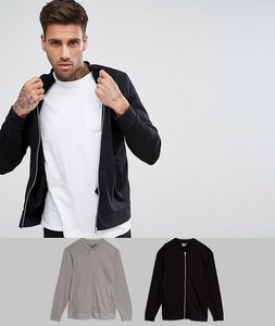 Read more about Asos jersey bomber jacket 2 pack black spoon save - black spoon
