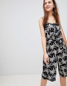 Read more about Brave soul adelia culotte jumpsuit in dark palm print - black white