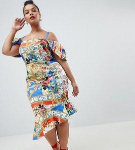 Read more about Asos design curve scuba cold shoulder printed trophy square neck midi dress - multi