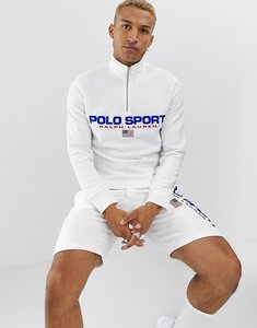 Read more about Polo ralph lauren retro sport capsule logo half zip sweatshirt in white