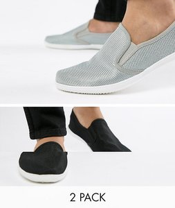 Read more about Truffle collection 2 pack slip on plimsolls - black