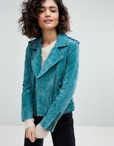 Read more about Selected suede biker jacket - teal